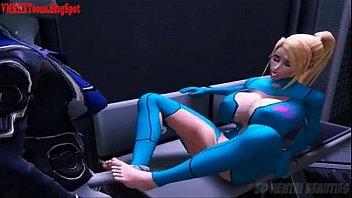 Samus Futanari 3D se masturbando e gozando